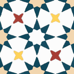 Colored and star cement tiles pattern