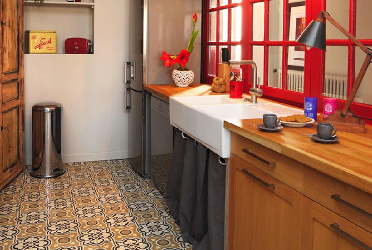 sol cuisine en carreaux de ciment