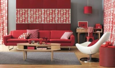 idées-déco-salon-moderne-rouge-blanc-rétro