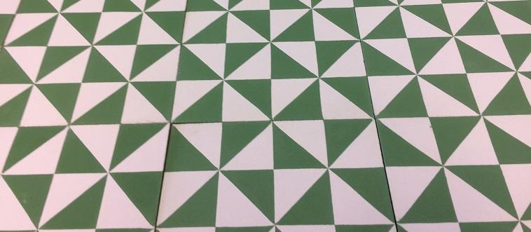 carreaux de ciment vert rétro