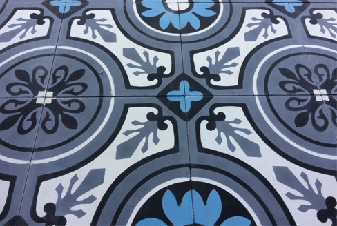 Patterns cement tiles classic floral in Bradford England, Cimenterie de la Tour