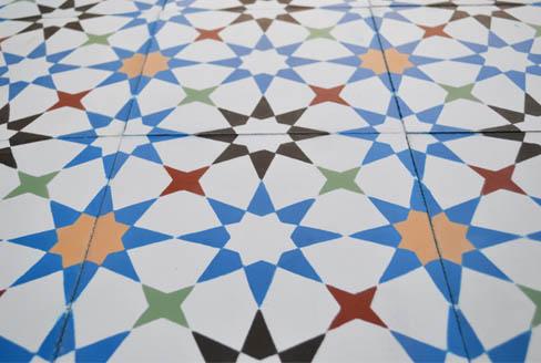 Star cement tiles colored for kitchen in Liverpool England,Cimenterie de la Tour