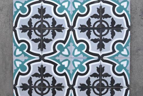 Carreaux de ciment bleu vert Fontainebleau 91, Cimenterie de la Tour