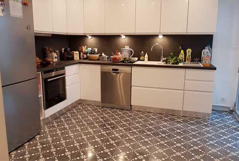 Sol cuisine carreaux de ciment gris Versailles 78, Cimenterie de la Tour