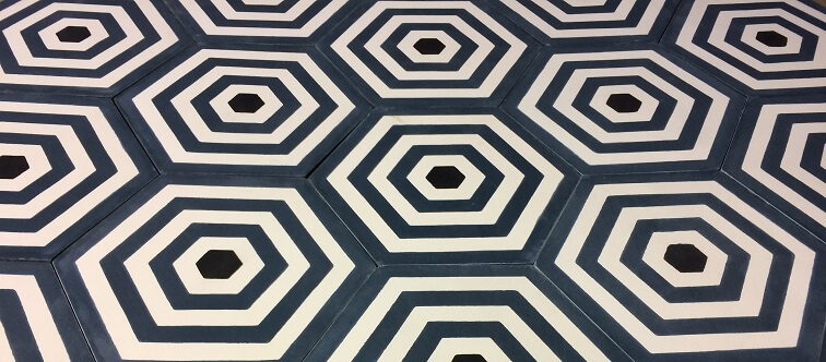 carreaux de ciment hexagonaux