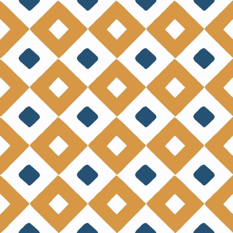 carreaux de ciment géométrique ocre et bleu cimenterie de la tour