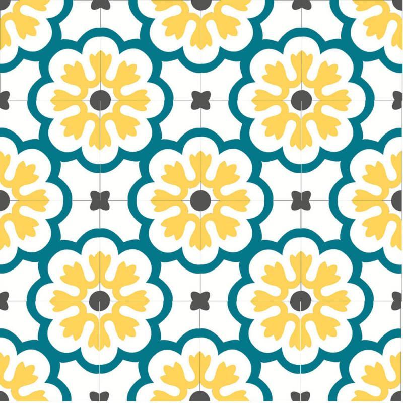 carreaux de ciment floral jaune et bleu cimenterie de la tour