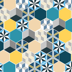 Colored cement tiles patchwork