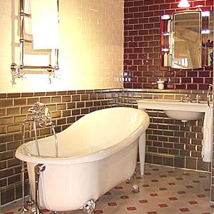 carreaux métro sur les murs d'une salle de bain