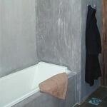 mur de salle de bain en enduit à l'ancienne