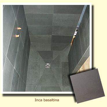 pierre naturelle grise sur un bac à douche