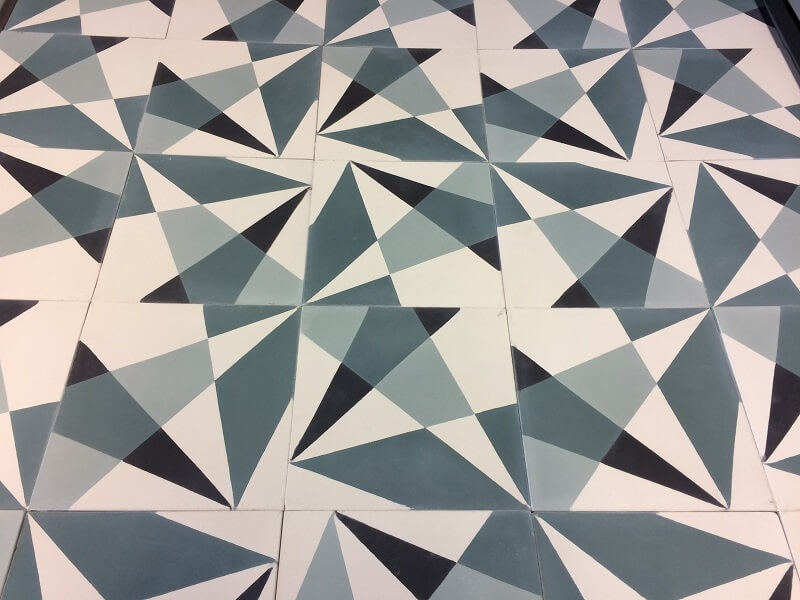 green and modern cement tiles