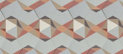 patchwork de carreaux de ciment hexagonaux