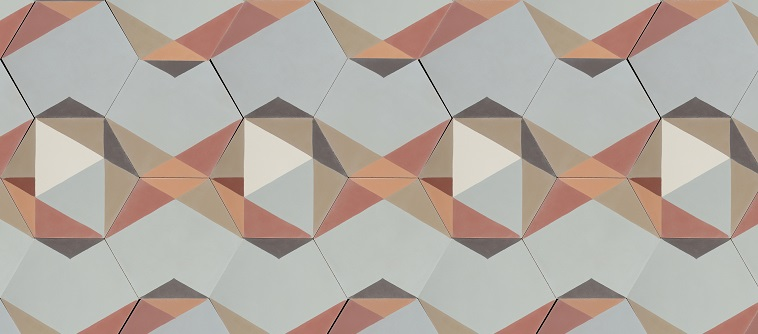 patchwork de carreaux de ciment hexagonaux