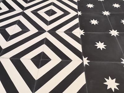 carreaux de ciment noir et blanc à Paris