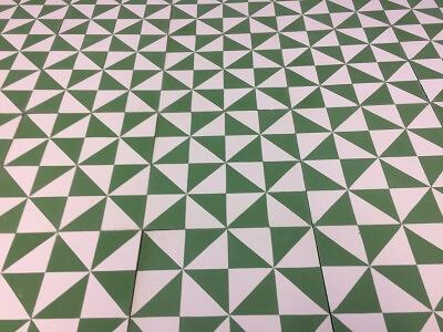 carreau ciment vert rétro
