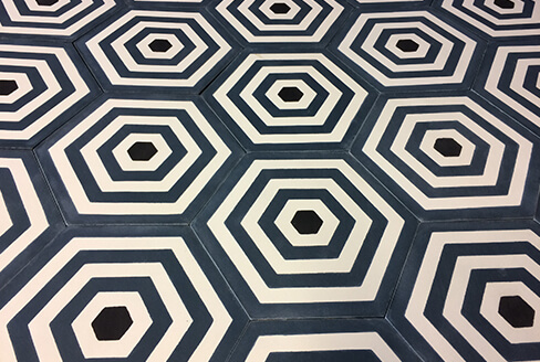 carreau de ciment géométrique bleu Montpellier