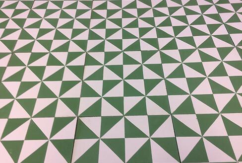 carreau de ciment moderne vert et blanc