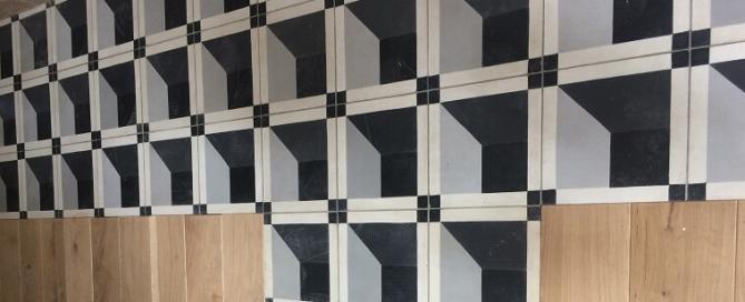 carreaux de ciment moderne et géoémtrique pour une décoration industrielle