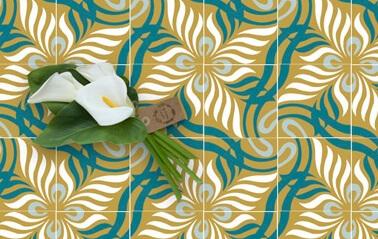 carreau mosaique floral aux couleurs bleu turquoise et jaune moutarde