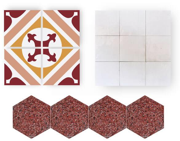 carreaux de ciment rouge et zellige blanc