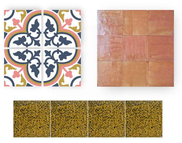 carreaux de ciment rose et bleu, granito carré jaune et zellige terre rouge