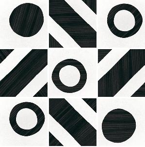 carrelage géometrique grès cérame noir et blanc