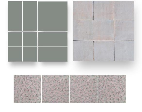 carreaux de ciment unis zellige et granito