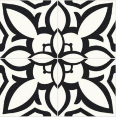 cimenterie de la tour carreau de ciment noir blanc traditionnel contraste M1741