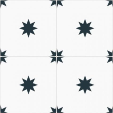 Cimenterie de la Tour carreau de ciment etoile noir et blanc M3083